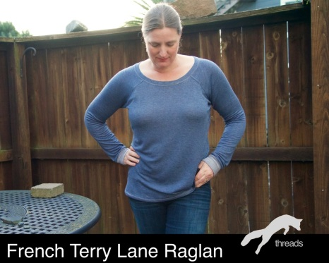 blue french terry Lane Raglan