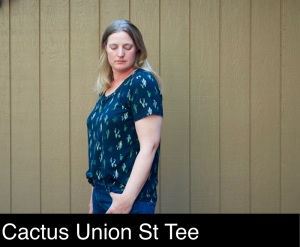 Union St Tee sewn by foxthreads in double brushed poly with green cacti print on black background.