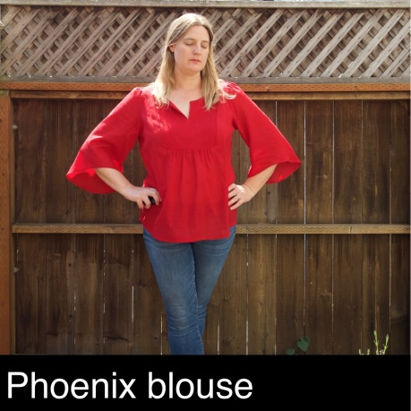 Foxthreads wearing her Phoenix Blouse sewn in red cotton lawn featuring dramatic bell sleeves.