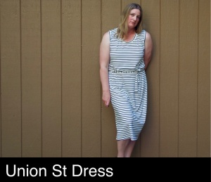 Black and white striped sleeveless Union Street Tee dress with belt tie.
