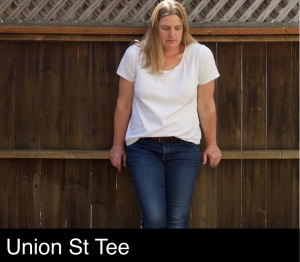 White Union Street tee worn with jeans, sewn by Foxthreads.