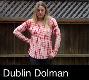 Foxthreads wearing a Dublin Dolman tee sewn in earthy red and white tie dye style bamboo knit.