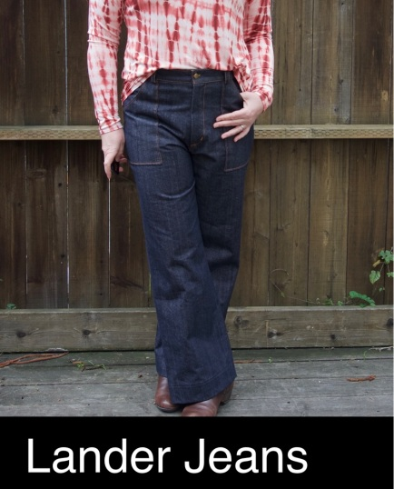 Foxthreads wearing the denim Lander Pants that she sewed.