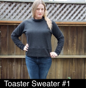 Toaster sweater pattern by Sew House Seven sewn in black flecked french terry.