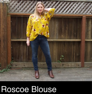 Roscoe blouse pattern by True Bias sewn in yellow rayon challis with large scale floral print.